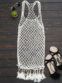 Seashell Fringe Crochet Cover Up Dress - Off-white