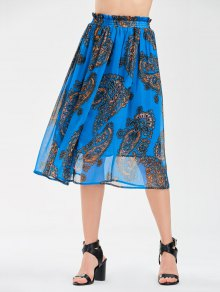 Elastic Waist Chiffon Print Skirt - Blue S