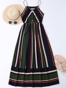 Maxi Vestido De Sol De Vacación A Rayas - Verde Negruzco L