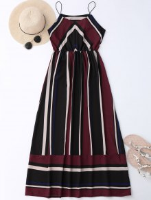 Maxi Holiday Sundress With Stripes - Wine Red Xl