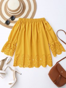Off The Shoulder Laser Cut Top - Yellow M