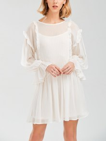 Sheer Flare Sleeve Dress With Golden Thread