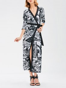 Bohemian Wrap Maxi Dress with Chinese Painting