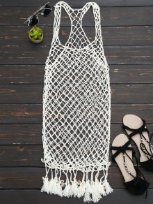 Seashell Fringe Crochet Cover Up Dress - Off-white