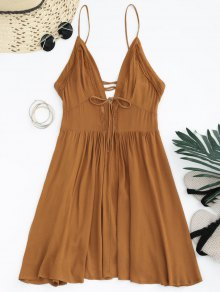 Plunge Low Back Lace Up Sundress - Light Brown M