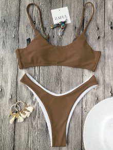 Cami Padded Thong Bathing Suit - Coffee M