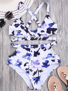 Floral Cut Out Bandage High Waisted Bikini