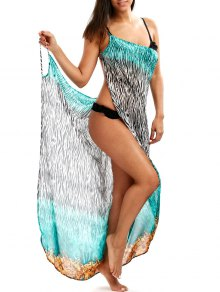 Zebra Print Open Back Wrap Cover-Ups Dress