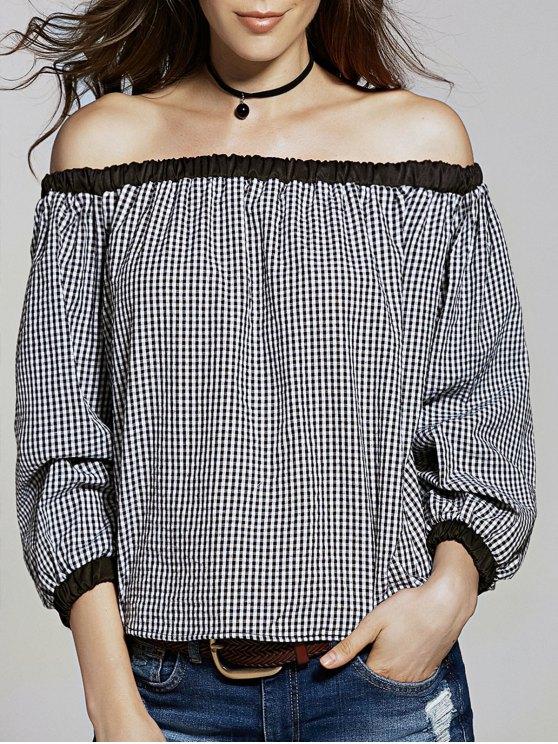 Vrac Vérifié Off The Shoulder manches T-shirt Lanterne - Blanc et Noir 2XL