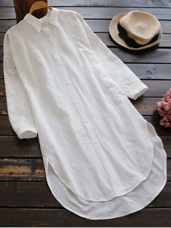 shops Embroidered High Low Button Up Tunic Shirt Dress - WHITE ONE SIZE