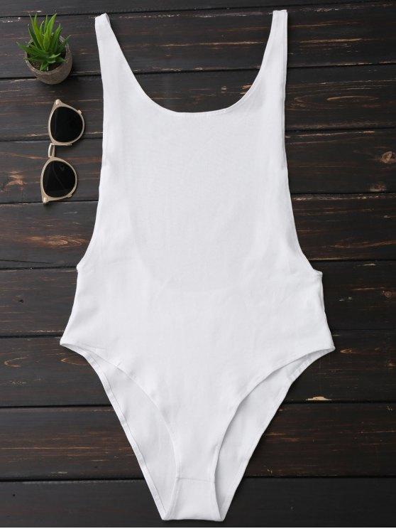 sale Skinny Sleeveless Backless Bodysuit - WHITE S