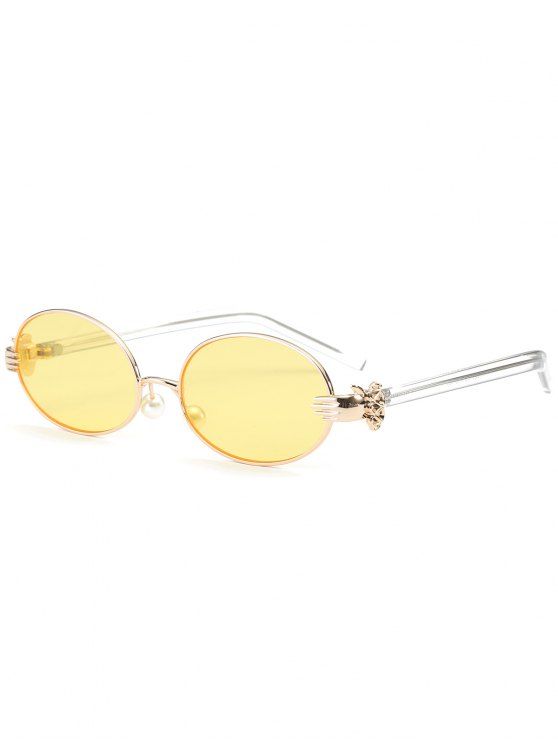 best Metal Hand Faux Pearl Nose Pad Oval Sunglasses - YELLOW