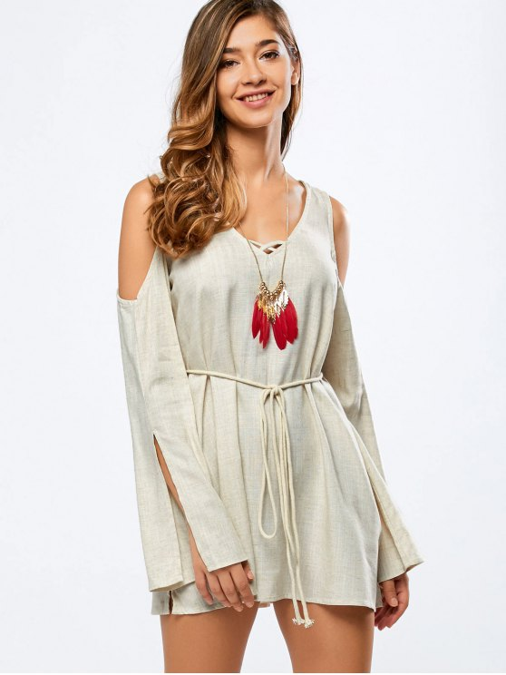 Cold Shoulder vestido de la manga de Split - Blancuzco L
