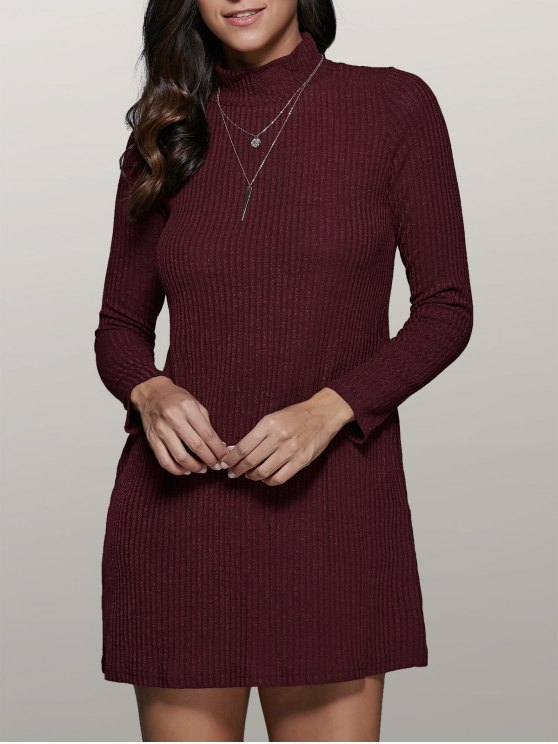 Vestido del suéter de manga larga mini una línea - Vino rojo S