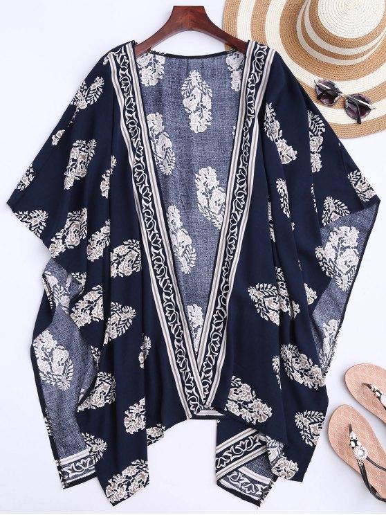 new Collarless Leaf Kimono Duster Coat - DEEP BLUE S