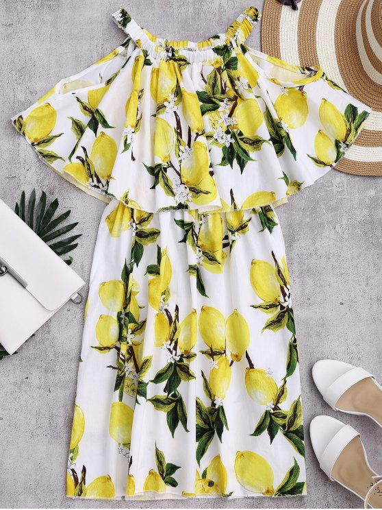 lady Off The Shoulder Limonin Print Overlay Dress - WHITE L