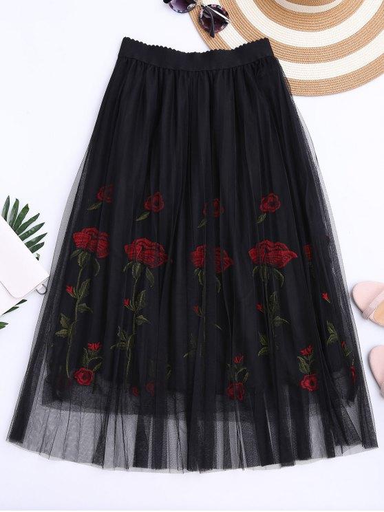 Falda bordada con malla de alta cintura - Negro Única Talla