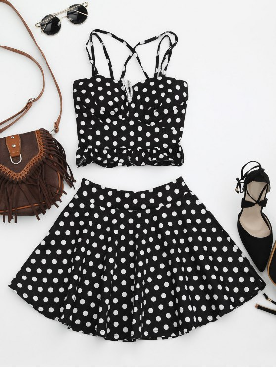 unique Padded Polka Dot Crop Top and Circle Skirt - BLACK ONE SIZE