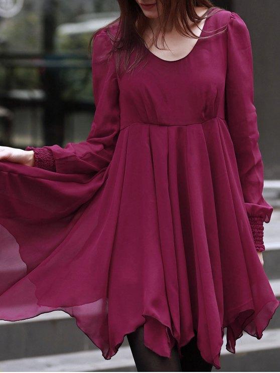 Creux à encolure dégagée robe en mousseline de soie à manches longues - Rouge XL