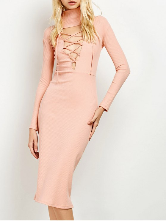 ladies Turtleneck Ribbed Knit Midi Bodycon Dress - PINK ONE SIZE