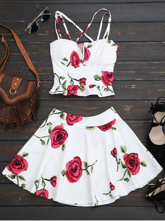 lady Floral Bralet Crop Top and Mini Skirt - WHITE ONE SIZE