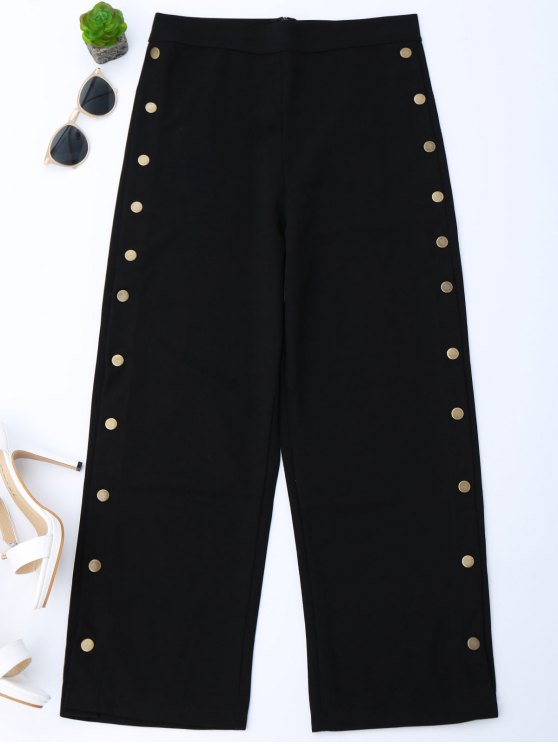 High Waisted Botones Side Gaucho Pantalones - Negro S