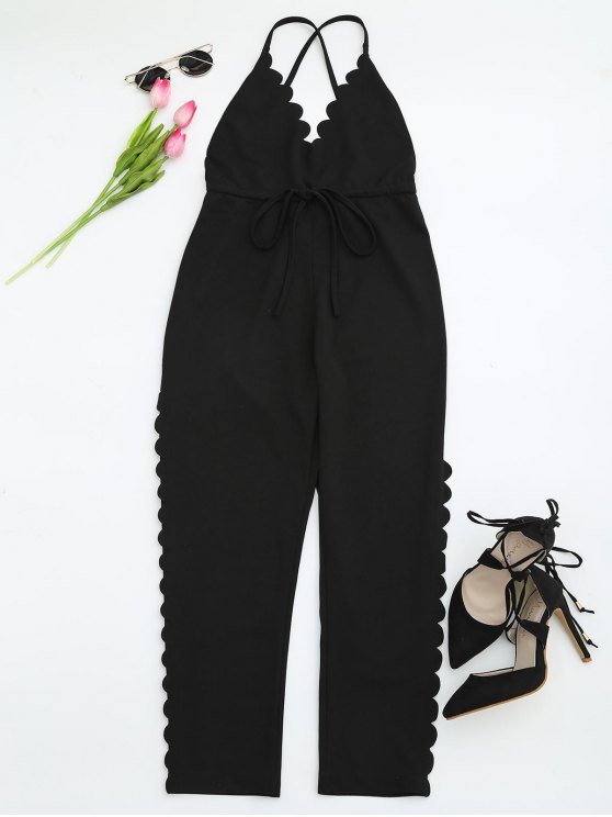 lady Scalloped Straight Cut Suspender Pants - BLACK M