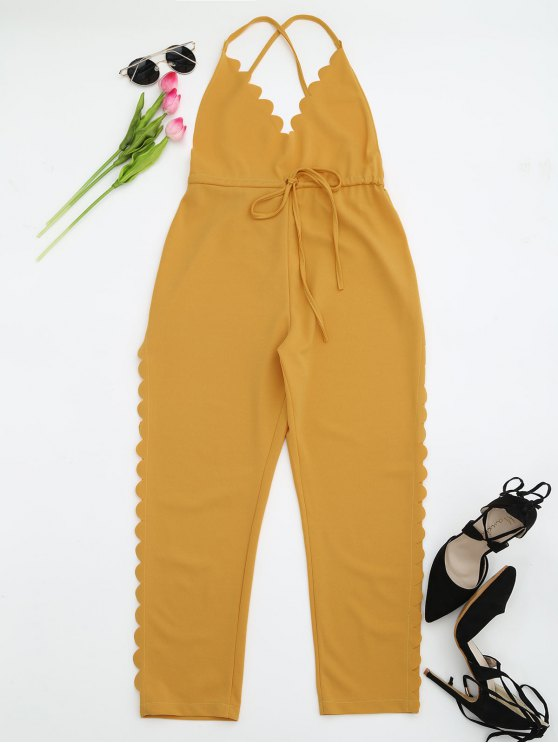 Pantalones Escotados Rectos de Tirantes con Ribete Festoneado - Amarillo S