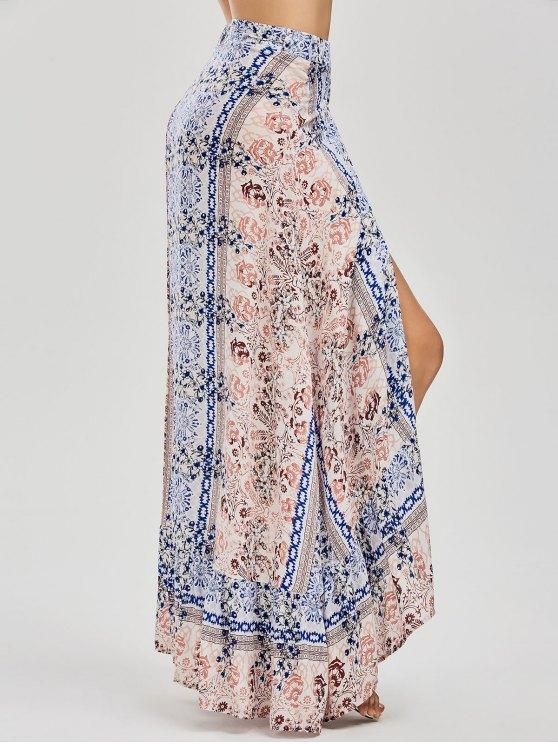 women Printed Asymmetrical Wrap Skirt - FLORAL M
