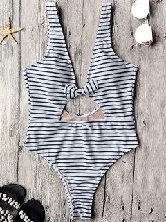 قطع عالية الساق قطعة واحدة ملابس السباحة - أبيض وأسود S