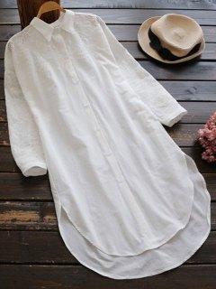 Robe Chemisier Haute Basse à Manches Longues - Blanc
