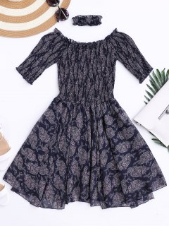 Off Shoulder Shirred Waist Paisley Choker Dress - Deep Blue