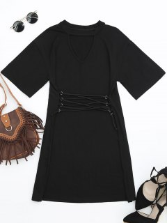 Corset Waist Choker T-shirt Dress - Black Xl