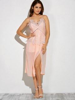 Slit Lace Spliced Slip Dress - Pink M