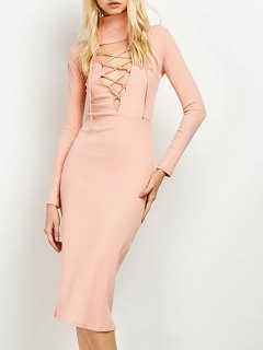 Turtleneck Ribbed Knit Midi Bodycon Dress - Pink
