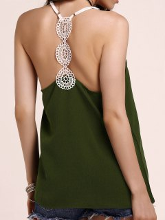 Fitting Lace Splicing Spaghetti Strap Tank Top - Blackish Green S