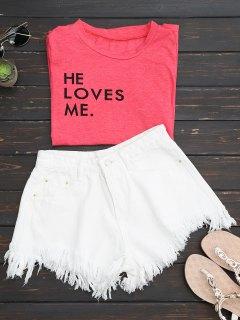 Wide Leg Frayed Hem Denim Shorts - White M