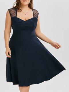 Vintage Mesh Trim A Line Plus Size Dress - Purplish Blue Xl