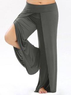 Plus Size Palazzo Pants With High Split - Gray 5xl