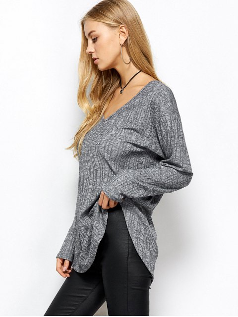 women's V Neck Cut Out Loose T-Shirt - GRAY M Mobile