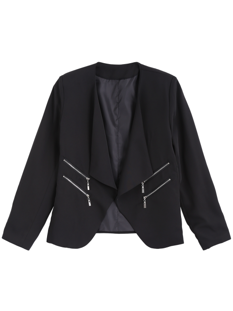 outfits Open Front Draped Zipper Blazer - BLACK S Mobile