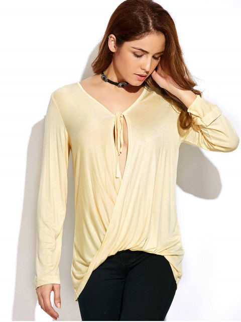 outfits Twisted Front Long Sleeve T-Shirt - OFF-WHITE M Mobile