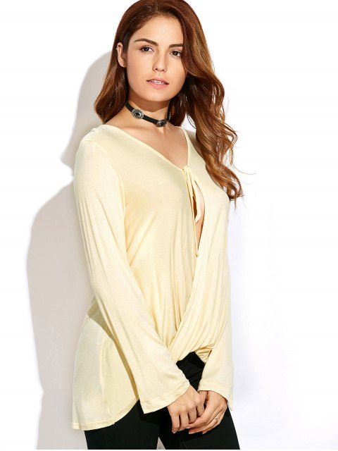 shop Twisted Front Long Sleeve T-Shirt - OFF-WHITE S Mobile