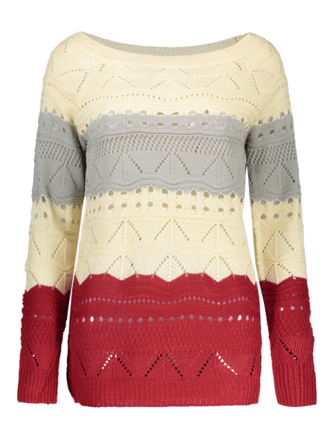 chic Pullover Hollow Out Color Block Sweater - PALOMINO S Mobile
