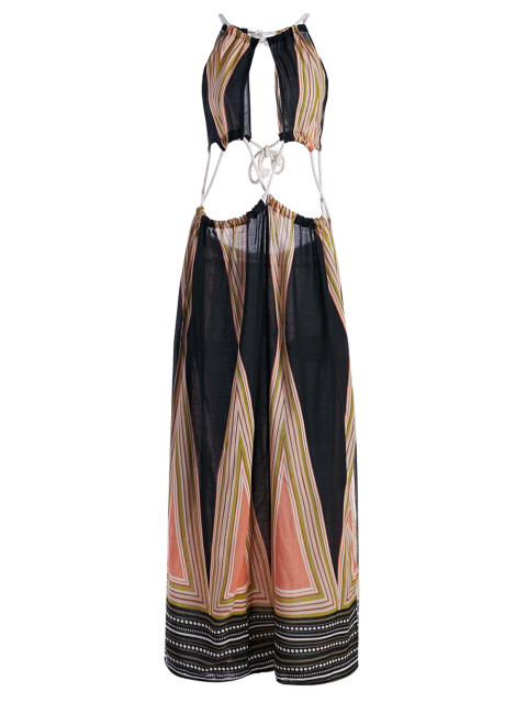 lady High Slit Halter Printed Maxi Dress - COLORMIX S Mobile