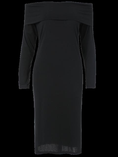 affordable Foldover Off The Shoulder Midi Dress - BLACK XL Mobile