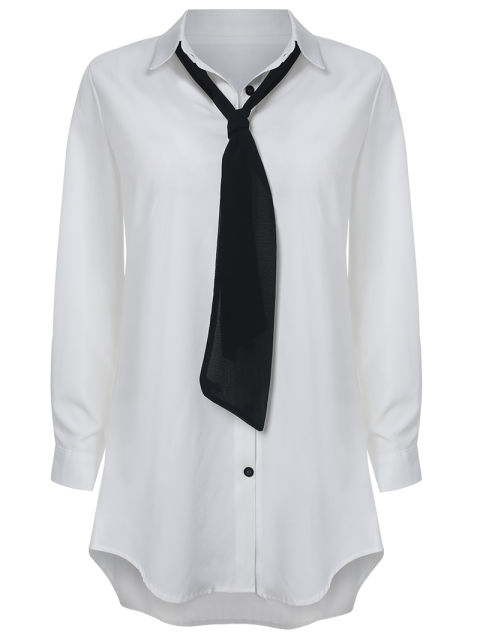 buy Bowknot Embellished Tunic Shirt Dress - WHITE S Mobile