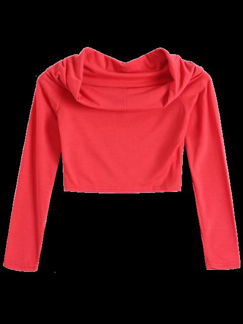 best Long Sleeve Off Shoulder Crop Top - RED M Mobile