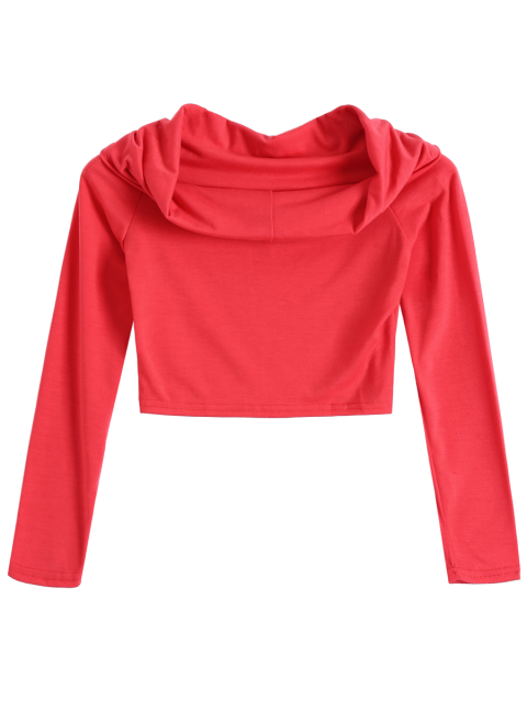 online Long Sleeve Off Shoulder Crop Top - RED S Mobile