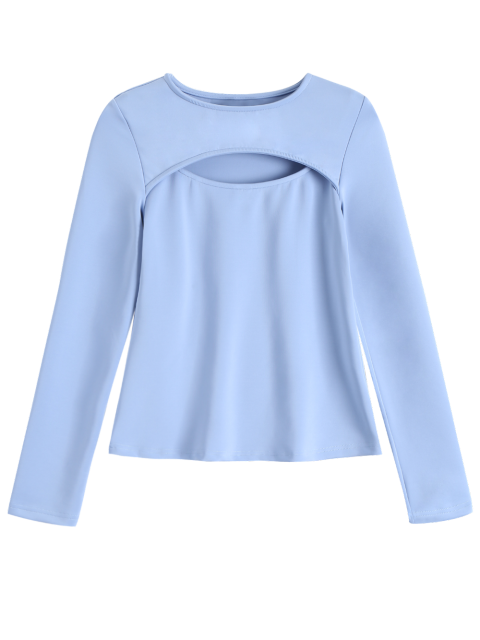 hot Long Sleeves Cutout Tee - BLUE GRAY M Mobile
